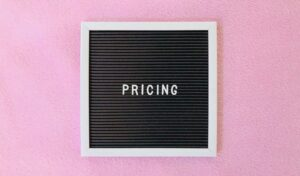 Pricing on pink background